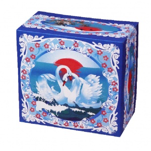 Картонная тортовая упаковка 350х350х200 Лебеди - 3 кг.