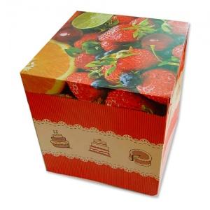 Картонная тортовая упаковка 420х420х300 Фрукты - 5 кг.