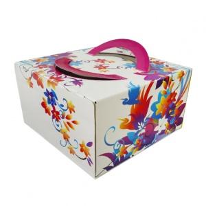Картонная тортовая упаковка 350х350х200 Весенняя - 4 кг.