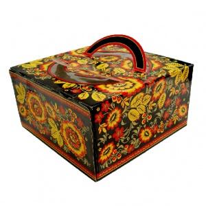 Картонная тортовая упаковка 350х350х200 Русская - 4 кг.